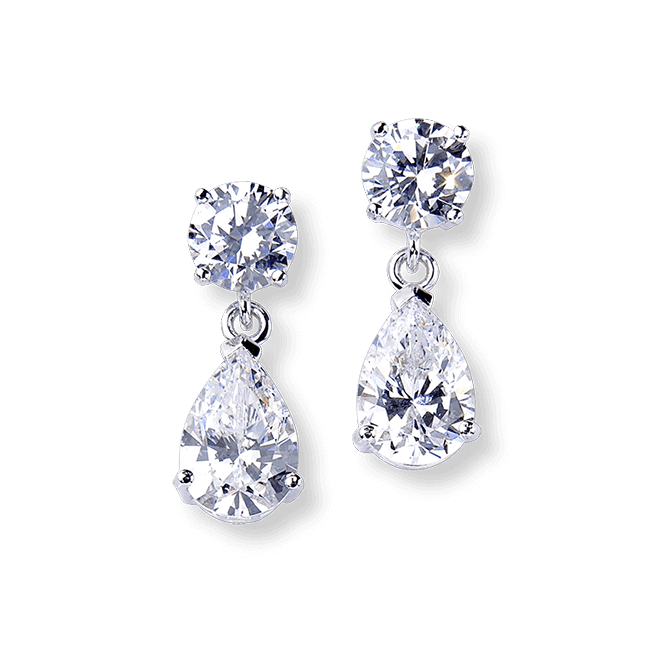 Round and Pear 6.0 Carat, 14K Drop Earrings
