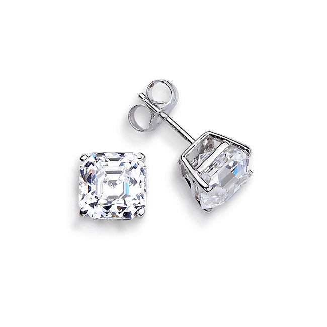 Asscher Cut 2.0 Carat, 14K Stud Earrings