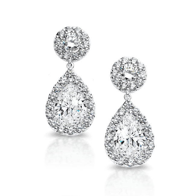 Round and Pear 8.88 Carat, 14K Drop Earrings