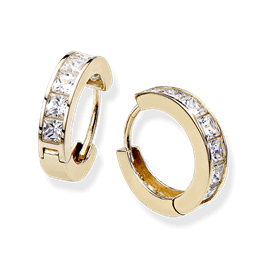 Princess Cut 1.26 Carat, 14K Hoop Earrings
