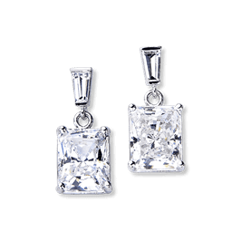 Radiant Cut 6.20 Carat, 14K Drop Earrings