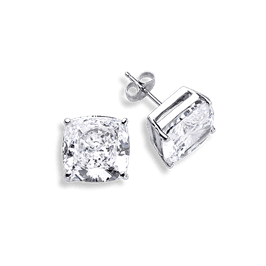 Cushion Cut 7.0 Carat, 14K Stud Earrings
