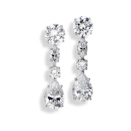 Round and Pear 11.66 Carat, 14K Drop Earrings
