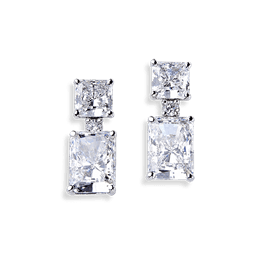 Radiant Cut 12.20 Carat, 14K Drop Earrings