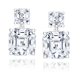 Asscher Cut 4.75 Carat, 14K Drop Earrings