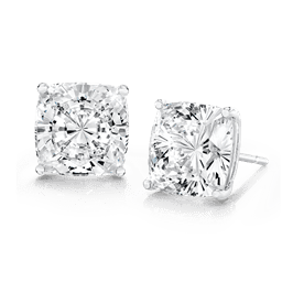Cushion Cut 2.5 Carat, 14K Stud Earrings