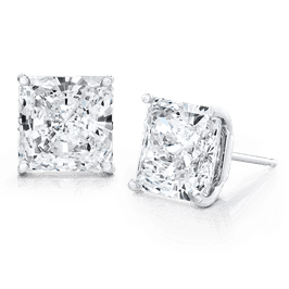 Princess Cut 6.0 CTW, 14K Stud Earrings