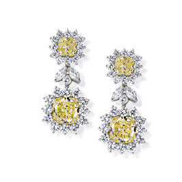 Cushion and Round 27.40 Carat, 14K Dressy Earrings