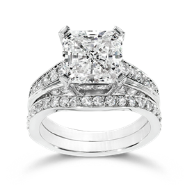 Princess Cut 3.5 Carat, 14K Wedding Ring Set