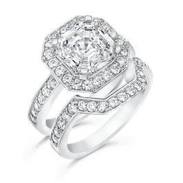 Asscher Cut 3.50 Carat, 14K Wedding Ring Set