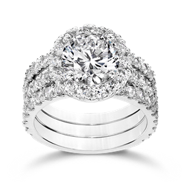 Round 2.5 Carat, 14K Wedding Ring Set