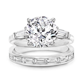 Round 4.0 Carat, 14K Wedding Ring Set