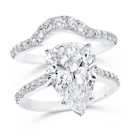 Pear Shape 5.0 Carat, 14K Wedding Ring Set