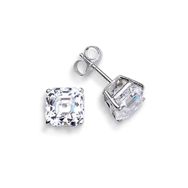 Asscher Cut 1.0 Carat, 14K Stud Earrings