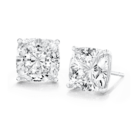 Cushion Cut 9.0 Carat, 14K Stud Earrings