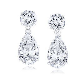 Round and Pear 9.0 Carat, 14K Drop Earrings