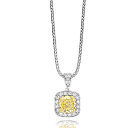 Cushion Cut 3.50 Carat, 14K Fancy Pendant
