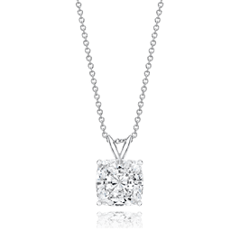 Cushion Cut 3.5 Carat, 14K Classic Pendant