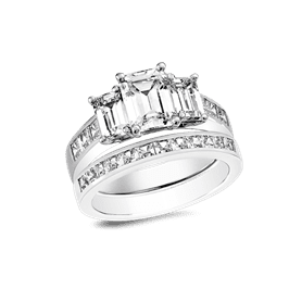 Emerald Cut 1.25 Carat, 14K Wedding Ring Set