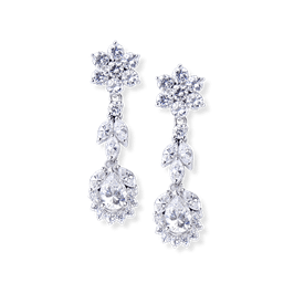 Round and Pear 4.90 Carat, 14K Drop Earrings