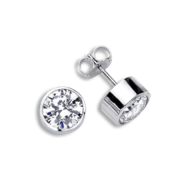 Round Bezel 1.0 Carat, 14K Stud Earrings
