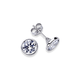 Round Wire Bezel 1.0 Carat, 14K Stud Earrings