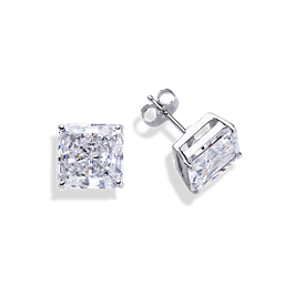 Princess Cut 5.0 Carat, 14K Stud Earrings