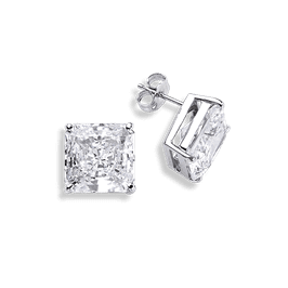Princess Cut 8.0 Carat, 14K Stud Earrings