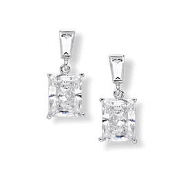 Radiant Cut 4.20 Carat, 14K Drop Earrings