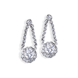 Round 3.18 Carat, 14K Drop Earrings