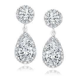 Round and Pear 4.54 Carat, 14K Drop Earrings
