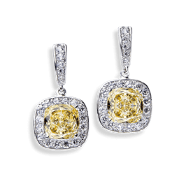 Cushion Cut 6.16 Carat, 14K Drop Earrings