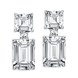 Emerald Cut 12.20 Carat, 14K Drop Earrings