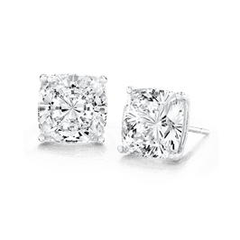 Cushion Cut 1.5 Carat, 14K Stud Earrings