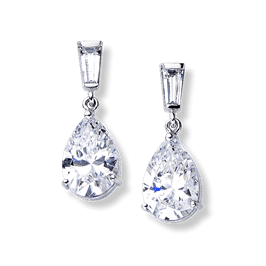 Pear Shape 6.20 Carat, 14K Drop Earrings