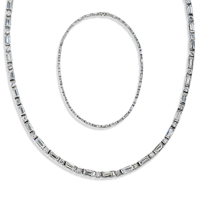 Baguette and Round 15.0 Carat, 14K Necklace