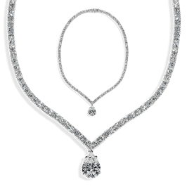 Round and Pear 30.0 Carat, 14K Necklace