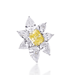Radiant Cut 3.0 Carat, 14K Brooch