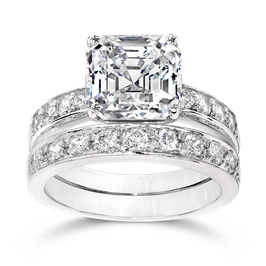 Asscher Cut 3.5 Carat, 14K Wedding Ring Set