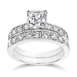 Asscher Cut 1.5 Carat, 14K Wedding Ring Set