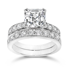 Asscher Cut 2.5 Carat, 14K Wedding Ring Set