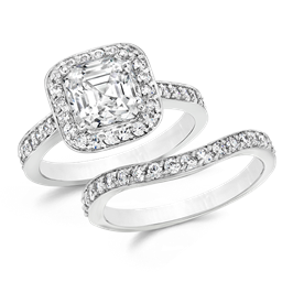 Asscher Cut 2.0 Carat, 14K Wedding Ring Set