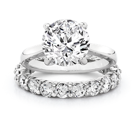 Round 3.0 Carat, 14K Wedding Ring Set