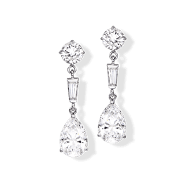 Pear Shape 6.0 Carat, 14K Drop Earrings