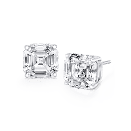 Asscher Cut 3.0 Carat, 14K Stud Earrings