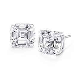 Asscher Cut 4.0 Carat, 14K Stud Earrings