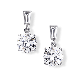 Round 3.0 Carat, 14K Drop Earrings