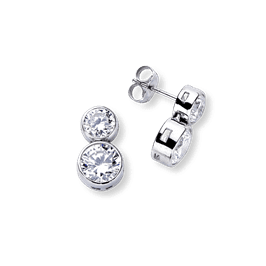Round Bezel 3.0 Carat, 14K Drop Earrings