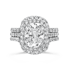 Oval Cushion 4.0 Carat, 14K Wedding Ring Set
