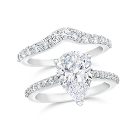 Pear Shape 3.0 Carat, 14K Wedding Ring Set